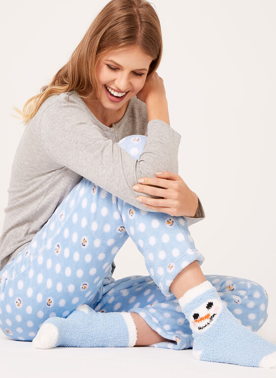 Pillow Talk - Snowman Pajama Set with Socks , Grey, hi-res