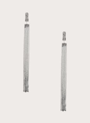 Chain Fringe Shoulder Dusters, Silver, hi-res