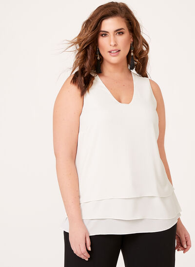 Tiered Crepe Sleeveless Blouse