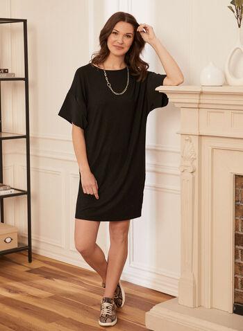 Drop Shoulder T-Shirt Dress, Black,  spring summer 2021, dress, crew neck, boat neck, t-shirt, t shirt,
