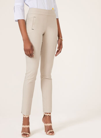 Straight Leg Pull-On Pants, Grey, hi-res