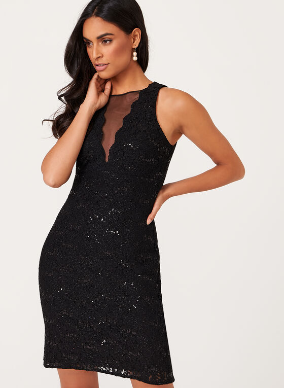 Sequin Lace Mesh Detail Dress, Black, hi-res