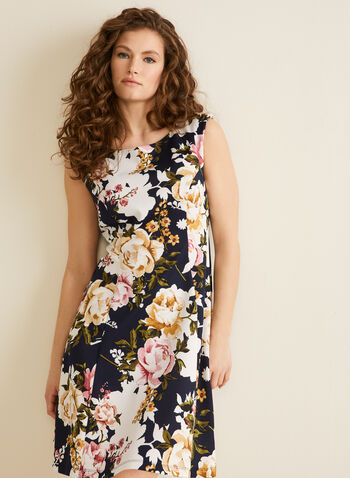 Sleeveless Floral Dress, Blue,  dress, floral, sleeveless, round neck, fit & flare, stretchy, keyhole, spring summer 2020