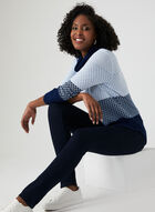 Cowl Neck Knit Sweater, Blue, hi-res