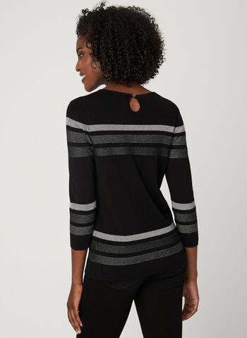 Pull rayé en tricot, Noir, hi-res