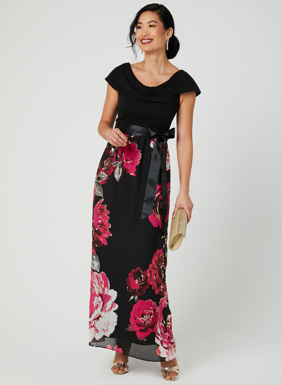 Rose Print Chiffon Dress, Black
