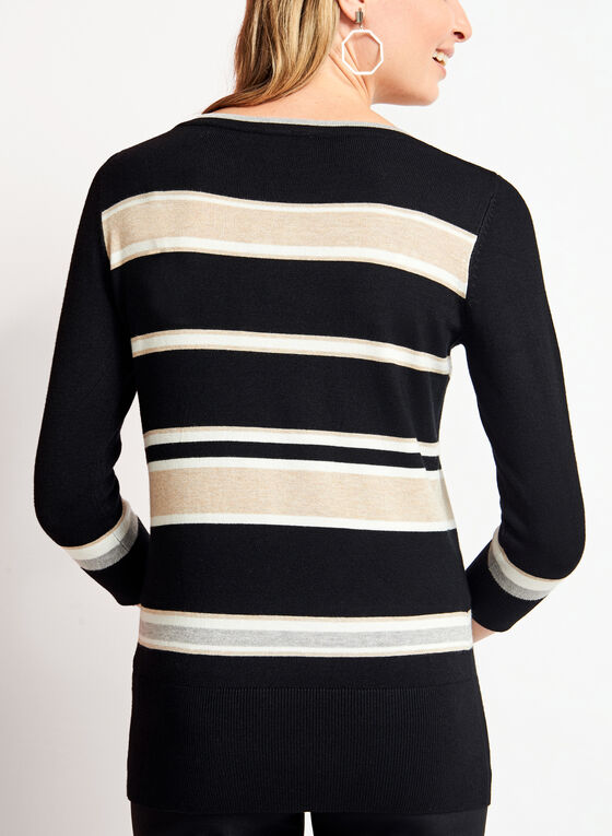 ¾ Sleeve Stripe Print Knit Sweater , Grey, hi-res