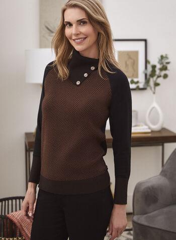 Herringbone Motif Split Collar Sweater, Brown,  top, knit, sweater, herringbone, split collar, colour block, long sleeves, fall winter 2020