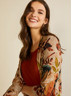 Floral Tapestry Open Front Top, Brown