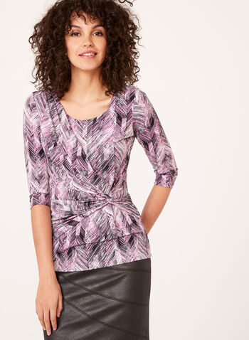 Herringbone Print Jersey Top , Purple, hi-res