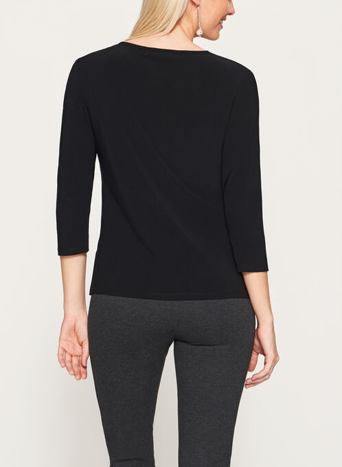 3/4 Sleeve Jersey & Faux Leather Top, Black, hi-res
