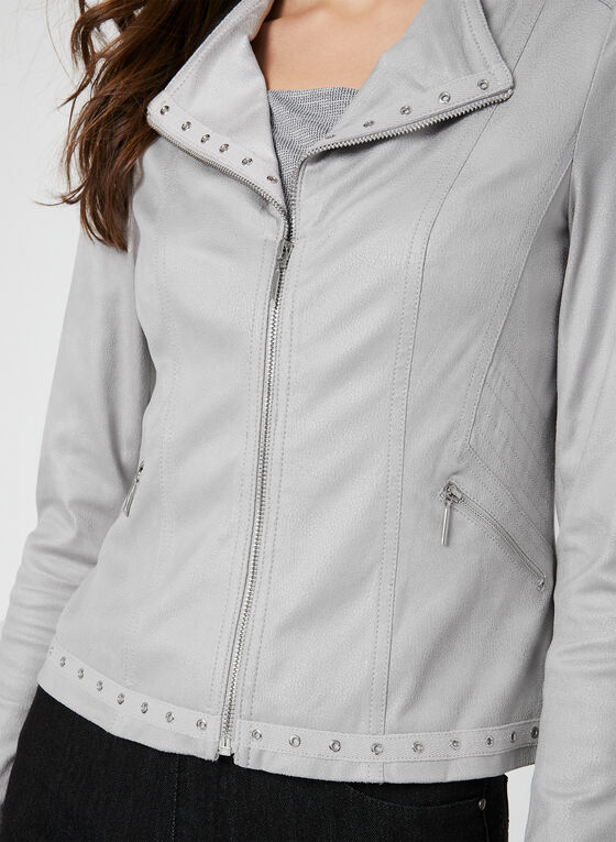 Faux Leather Jacket, Grey, hi-res