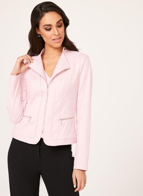 Faux Suede Zip Detail Jacket, Pink, hi-res