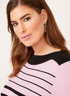 Stripe Print Boat Neck Sweater, Black, hi-res