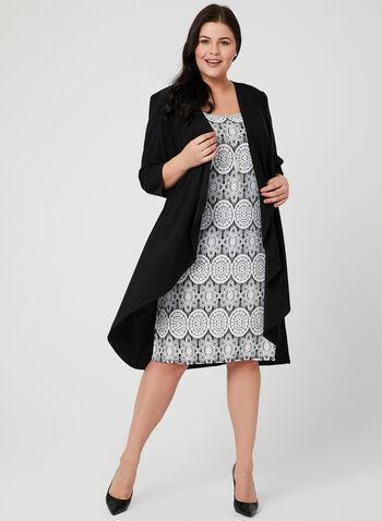 Robe motif médaillon avec cardigan et collier, Noir, hi-res,  robe du jour, crochet, collier, cardigan, printemps 2019