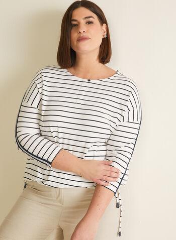 T-shirt à manches ¾ et liens, Blanc,  t-shirt, manches 3/4, liens, bouton, col dégagé, bandes ornementées, printemps été 2020, rayure