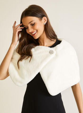 Short Faux Fur Wrap, Off White,  fall winter 2020, outerwear, wrap, cape, faux fur, brooch
