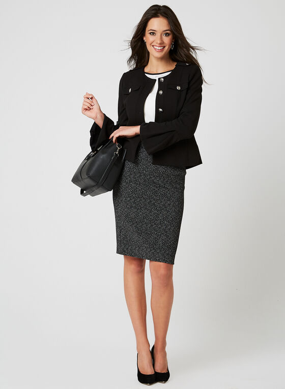 Metallic Accent Double Knit Skirt, Black, hi-res
