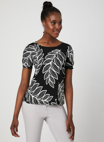 Palm Leaf Print Top, Black, hi-res