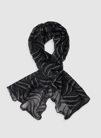 Glitter Scarf, Silver,  scarf, glitter, metallic, metallic scarf, glitter scarf, print scarf