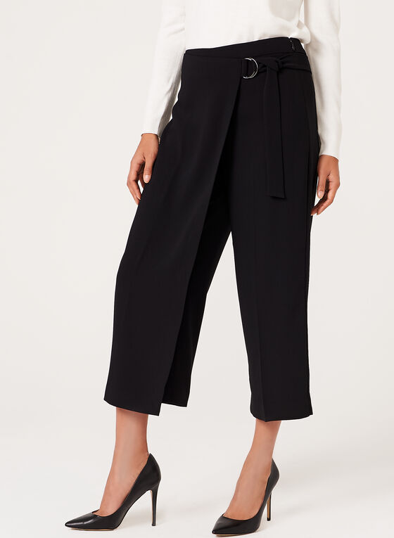 Modern Fit Faux Wrap Culottes, Black, hi-res