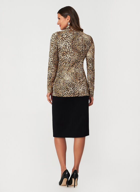 Leopard Print Long Sleeve Top, Brown, hi-res