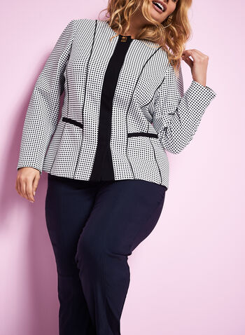 Knit Dot Print Jacket , , hi-res