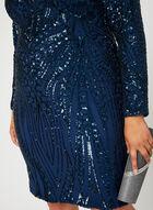 Robe cocktail avec mailles et sequins, Bleu, hi-res