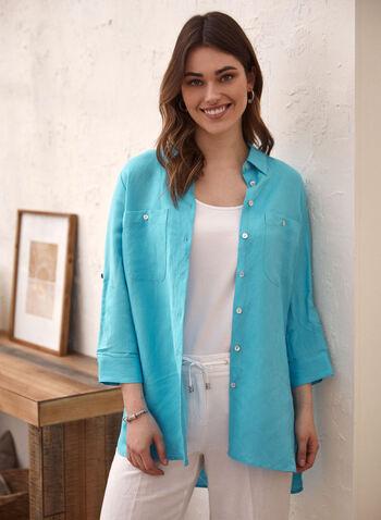 Linen Tunic Shirt, Blue,  spring summer 2021, tops, shirt, button up, chest pocket, linen
