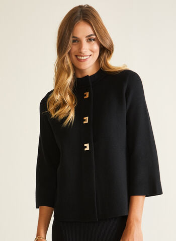 Button Front Trapeze Cardigan, Black,  cardigan, knit, button front, 3/4 sleeves, fall winter 2020