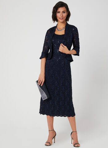 Sequin Lace Gown With Jacket, Blue, hi-res