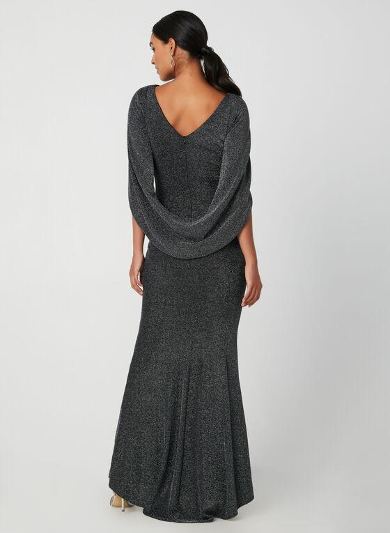Robe drapée à fils métallisés, Noir