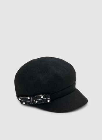 Casquette gavroche à détail nœud, Noir, hi-res,  chapeau, casquette gavroche, laine, nœud, perles, automne hiver 2019