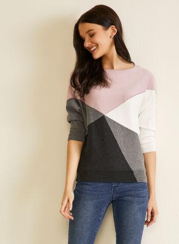 Pull manches dolman à couleurs blocs, Rouge,  automne hiver 2020, pull, chandail, tricot, manches 3/4, manches dolman, blocs de couleurs, cristaux