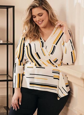 Geometric Print Faux Wrap Blouse, White,  top, blouse, crepe, long sleeves, v-neck, wrap, wavy, geometric print, spring summer 2020