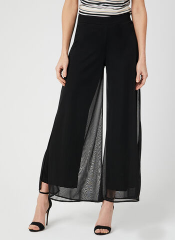 Modern Fit Wide Leg Pants, Black, hi-res,  pull on, spring 2019, chiffon