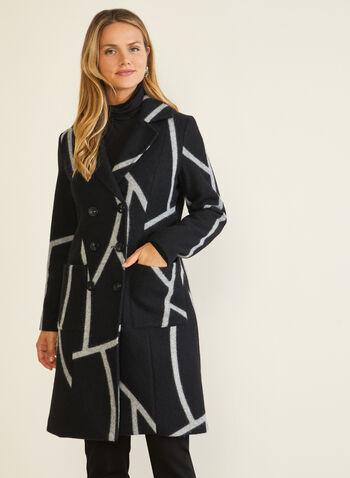 Manteau abstrait à col cranté , Noir,  manteau, laine mélangée, abstrait, col cranté, poches, automne hiver 2020
