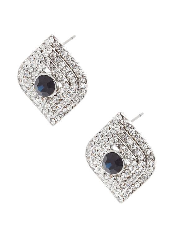 Boucles d'oreilles à pierre ronde et cristaux, Bleu, hi-res