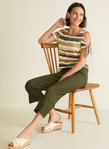 Stripe Print Cold Shoulder Top, Green,  top, cold shoulder, striped, knot, jersey, spring summer 2020