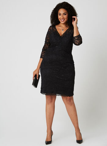 Marina - Beaded Lace Dress, Black, hi-res