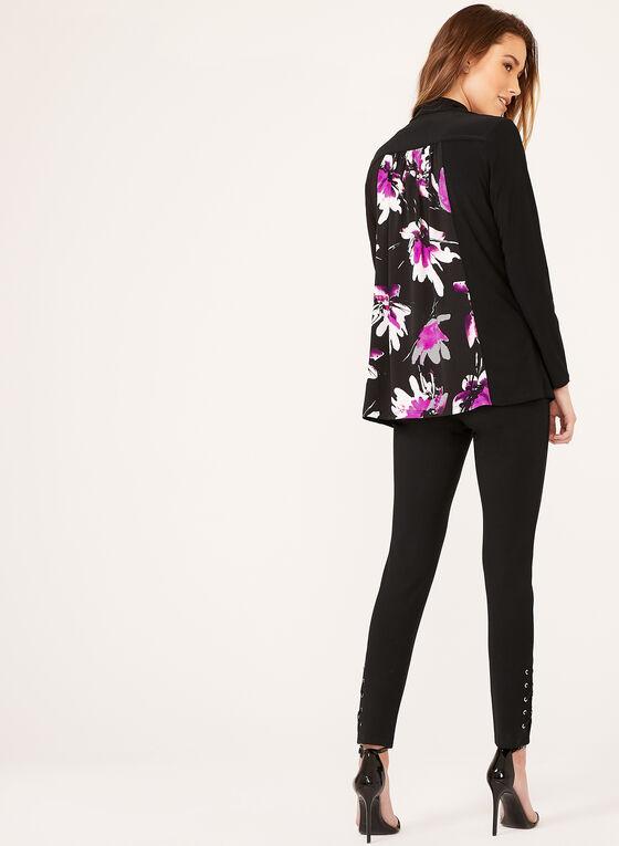 Cardigan ouvert avec motif fleurs au dos, Noir, hi-res