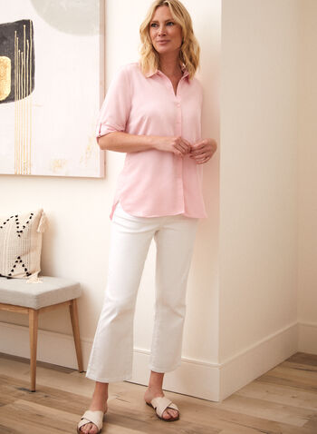 3/4 Sleeve Blouse, Pink,  spring summer 2021, tops, blouses, button up, buttoned, slits, circular hem, lapel collar, made in Canada, short sleeves,