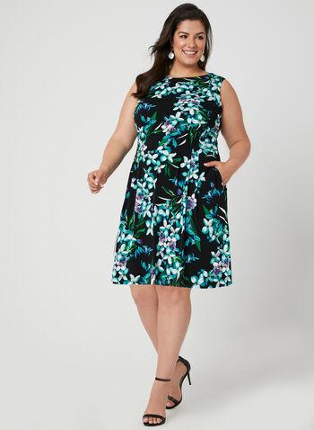 Floral Print Jersey Dress, Black, hi-res,  day dress, jersey, floral print, sleeveless, spring 2019, summer 2019
