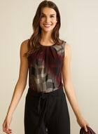 Abstract Print Sleeveless Top, Red