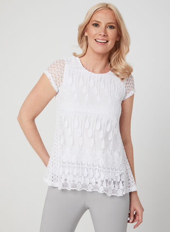 Linea Domani - Crochet Top, White, hi-res,  Linea Domani, top, short sleeves, crochet, spring 2019