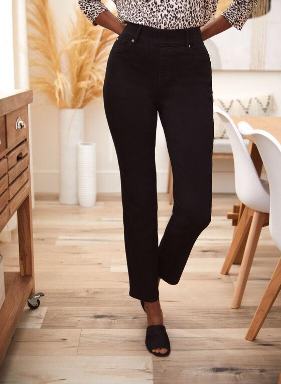 Straight Leg Pull On Jeans, Black