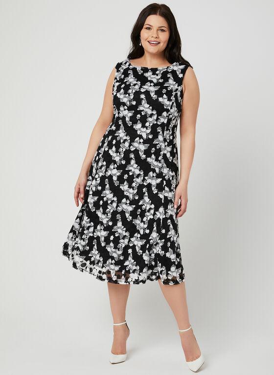 Embroidered Fit & Flare Dress, Black, hi-res