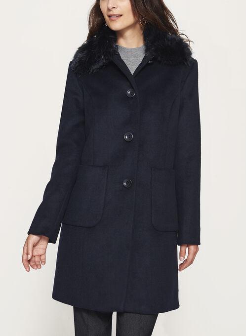Marcona - Faux Fur Trim Wool Coat, Blue, hi-res