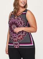 Paisley Print Jersey Top , Purple, hi-res