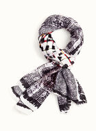 Abstract Print Lightweight Scarf, Black, hi-res